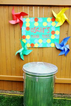 Oscar's Trash Toss. Elmo Themed Party, lots of good ideas