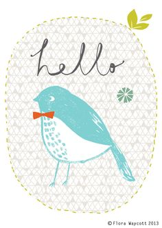 Hello Birdie greetings card, digitally printed on beautiful textured off-white paper. An original Flora Waycott illustration. Illustration Photo, Winter Illustration, Illustrations Posters, Creations, Greeting Cards, Artsy, Etsy Shop, Art Prints, Wallpapers