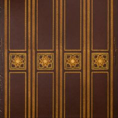 Gilt Stripes with Square Ornaments on Burgundy Leather # Rolls: of usable border, excluding the band and second roll) Condition Antique Wallpaper, Original Wallpaper, Leather Roll, Borders For Paper, Antique Art, Rolls, Burgundy, At Least, Arts And Crafts