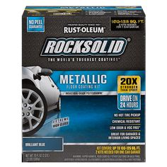 Metallic Floor Coating Kit Brilliant Blue - each kit only covers 100-125 sf.; we have 2448 sf., so 25 kits. Order Online only @ HD, $238/2 kits, so $5950 for entire job.