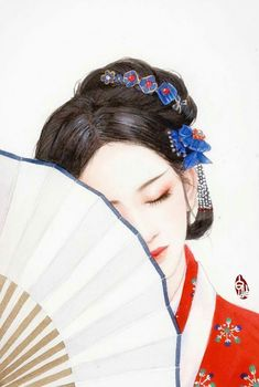 There are times when placing a barrier between the one you love and yourself makes you more desirable in the end. Korean Painting, Chinese Painting, Stock Design, Chinese Drawings, Geisha Art, Cute Easy Drawings, Painting Of Girl, China Art, Anime Art Girl