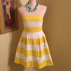 Ann Taylor Loft Yellow & White Strapless Dress, 2