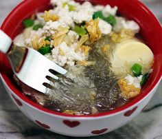Mung Bean, bean thread, glass noodles soup. Ingredients: Soaked mung ...
