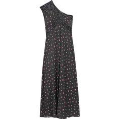 Attico Peggy one-shoulder lace-paneled silk crepe de chine dress ($1,215) ❤ liked on Polyvore featuring dresses, black, silk dress, floral midi dress, midi dress, midi cocktail dress and one shoulder dress