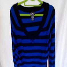 Lightweight sweater blue and black v-neck Sweater love always Sweaters V-Necks