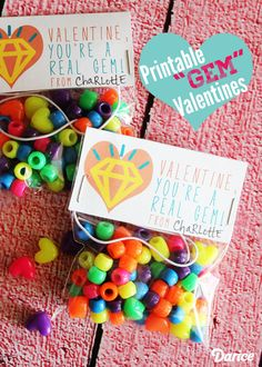 """You're a Real Gem!"" Bracelet Kit with Free Valentine Printables"