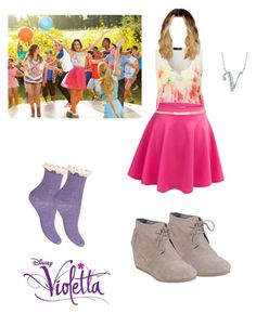 """Violetta - Hoy somos mas"" by cubed-debuc ❤ liked on Polyvore featuring Disney, Jane Norman, TOMS, Jimmy Choo and BERRICLE"