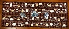 """Coffee themed table runner reversible 12"""" x 32"""""""