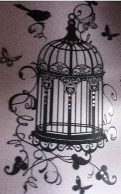 "Just the cage, no swirls. I would want color with the door open, a blue bird that has flown out, and the words, ""Fly away home to You."""