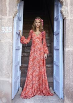 dress long dress pink dress gypsy red dress orange maxi dress maxi long sleeves sleeve pattern