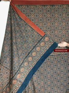117 Double Sided Ajrakh Hand Block Printed with Natural Dyes Cotton Textile, Textile Art, Vintage Textiles, Vintage Prints, Weaving Textiles, Wood Blocks, Antique Art, Decoration, Hand Stitching