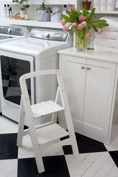 Suddenly that top shelf in the laundry room doesn't seem so high! We love this White 2-Step Wooden Stool to get to even the trickiest of spots. It looks great and is even collapsible for easy storage!