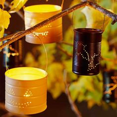For a one-of-a-kind Halloween display, make your own luminarias. Learn more about this project: http://www.bhg.com/halloween/crafts/halloween-pumpkins-crafts/?socsrc=bhgpin090312tincanlights#page=10