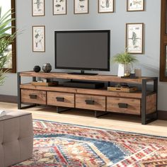 Kylee TV Stand for TVs up to 78 is part of Modern Living Room TV Stand - Featuring an openwork design and warm natural finish, this wood and metal media console anchors your den or entertainment room in industrial style Rustic Living Room Furniture, Living Room Tv, Furniture Decor, Modern Furniture, Furniture Design, Tv Stand Ideas For Living Room, Antique Furniture, Cheap Furniture, Furniture Arrangement