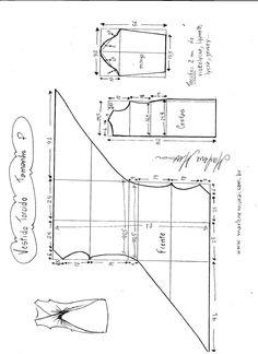 Esquema de modelagem de Vestido Blusa com drapeado Torcido tamanho P.