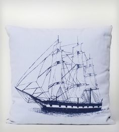 Navy Ship Organic Cotton Pillow | A fine hand-printed ship graces the front of this organic cott... | Throw Pillows