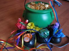 Leprechaun game follow the rainbow ribbons to find the pot of gold at the end.   Sweet tradition I like it!