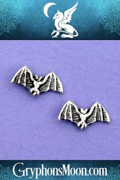 Silver Bat Stud Earrings - If you wish that every day was Halloween, these are just the earrings for you! Teeny tiny bats have a wingspan of only but are perfect in every detail. Made of sterling silver, for pierced ears only. Order yours today! Silver Earrings, Stud Earrings, Samhain Halloween, Jewelry Chest, Gifts For Nature Lovers, Halloween Jewelry, Some Girls, Ear Piercings, Bats