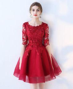 b2b29c76ae49 Burgundy lace tulle short prom dress, burgundy homecoming dress