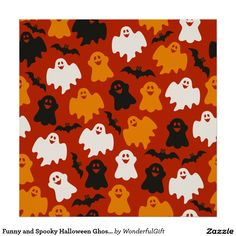 Funny and Spooky Halloween Ghost Pattern on Brown Poster