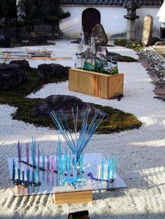 京都妙蓮寺万灯会にて 妙蓮寺石庭Grass Artのライトアップ 2001年10月 It is lighted up Myorenji rock garden Grass Art October, 2001