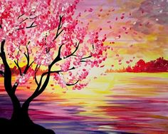 Pink flowering tree and orange pink sunset painting. Paint nite.