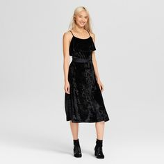 So romantic, so flattering: the Velvet Midi with Satin Tie - Who What Wear™. From whisper-thin spaghetti straps to the deep-ruffled neckline to the sleek drape of the skirt, every detail of this lush crushed-velvet piece is about making you look your best, while a polyester satin wrap-tie around the waist adds a shining finishing touch.