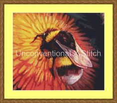 Bumblebee on dandelion cross stitch pattern - Nostalgia Extract #3 - modern counted cross stitch pattern Maquenda Licensed by UnconventionalX on Etsy