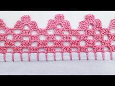 Barrado em crochê fácil de fazer - YouTube Crochet Edging Tutorial, Crochet Edging Patterns, Crochet Lace Edging, Granny Square Crochet Pattern, Crochet Borders, Doily Patterns, Crochet Stitches, Knitting Patterns, Crochet Fish