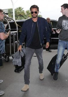 Scott Disick wearing Saint Laurent Original Low Waisted Skinny Jean in Washed Grey Stretch Denim, Ray-Ban Original Aviators, John Elliott Mercer T-Shirt, Common Projects Suede Chelsea Boots in Grey and Cartier Juste Un Clou Bracelet in Yellow Gold