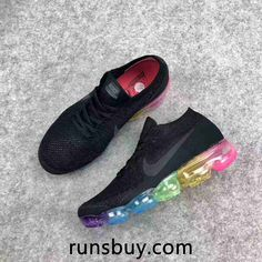 promo code a934e fe800 Nike Air VaporMax 2018 Flyknit Black Rainbow Sole