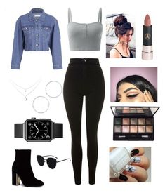 A fashion look from December 2017 featuring sleeveless shirts, blue jean jacket and high waisted skinny jeans. Browse and shop related looks. Picture Day Outfits, Bad Girl Outfits, Cute Teen Outfits, Cute Outfits For School, Teenager Outfits, Outfits For Teens, Trendy Outfits, Baddie Outfits Casual, Swag Outfits