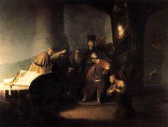 Rembrandt - Judas Volviendo las treinta piezas de plata (1629)