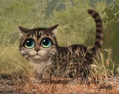 Keane Inspired big eyed cat print, jungle art, cute kitten, cat hunting, big eyed cat painting, child's room artwork, children's decor,