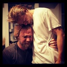 One of the most emotional pictures I've ever seen. This video made me cry, they were cutting off Ryan's beard to symbolize Opie being gone but it was really hard for Ryan to let go of his character. Heartbreaking!