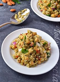 Fresh and summery, this chunky salad boasts super-food ingredients quinoa, bulgur, chickpeas and almonds, all enhanced by the flavor of a roasted scallion and lemon dressing. Enjoy as a main dish, quick lunch, or atop greens for a satisfying salad.