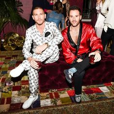 Dolce & Gabbana 2016 Los Angeles Chateau Marmont Fashion Pyjama Party. Sat @adamsenn and @mralexmanos drinking a cocktail at #DGPYJAMAPARTY event in Los Angeles. Photo by @bfa for @dolcegabbana.