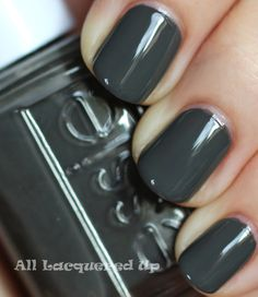 "Polishes I Own #8: Essie ""Power Clutch"" - Deep grayish green."
