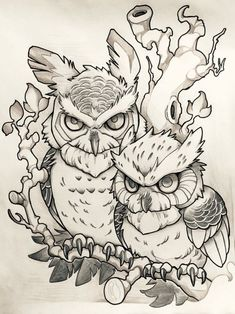 Owl Tattoo Designs and Ideas Owl Tattoo Design, Tattoo Design Drawings, Tattoo Sketches, Art Sketches, Art Drawings, Tattoo Designs, Desenho New School, Buho Tattoo, Owl Coloring Pages