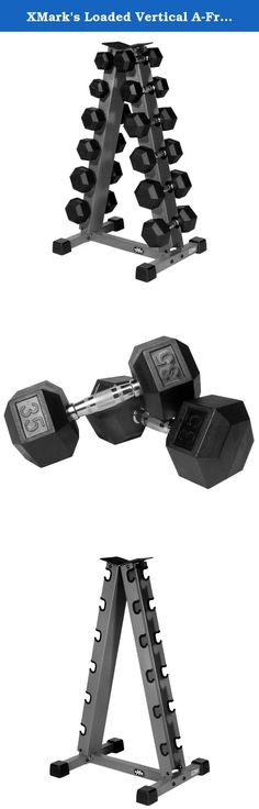 XMark's Loaded Vertical A-Frame Dumbbell Rack Includes 270 lbs of XMark Premium Quality Rubber Coated Hex Dumbbells. Consolidate your dumbbells and maintain a clutter free home gym floor with this XMark Vertical Dumbbell Rack and Hex Dumbbell Package. Constructed of heavy duty 14-gauge steel, the XMark Vertical Dumbbell has a baked on scratch resistant power coated finish for long-lasting durability. Six pair of XMark premium quality, rubber coated hex dumbbells ranging in weight from 10...