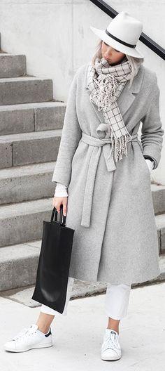 Grey Oversize Belted Coat