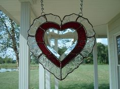 Stained Glass Window Suncatcher Red Beveled Heart. $32.00, via Etsy.