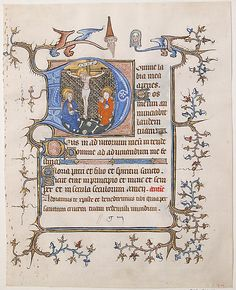 Initial D with the Crucifixion From a Book of Hours Date: ca. 1350 Geography: Made in, North France Culture: North French Medium: Parchment, tempera, ink, gold leaf Dimensions: Overall: 8 3/16 x 6 1/2 in. (20.8 x 16.5 cm) Study mat size: 12 x 9 15/16 in. (30.5 x 25.3 cm) Classification: Manuscripts & Illuminations
