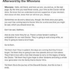 Afterword by the Whovians. Hear that?! THAT'S THE SOUND OF MY HEART SHATTERING.