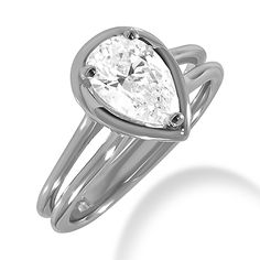 Pear Solitaire Ring Halo Setting Split Shank