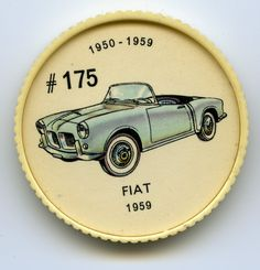 Jello-O Coin 175 - Fiat (1959) - The Fiat 1,200 Spyder coupé was designed to compete with sports cars in the MGA class. Using the same chassis as the Fiat 1100 sedan, the coupé was powered by a four-cylinder engine that produced 50 brake horsepower. The toy-like car was capable of speeds approaching 90 m.p.h.