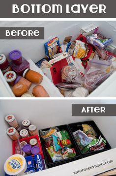 Chest-Freezer Deep Freezer Organization, Freezer Hacks, Freezer Storage, Fridge Organization, Freezer Cooking, Organization Ideas, Summer Snacks, Getting Organized, Declutter