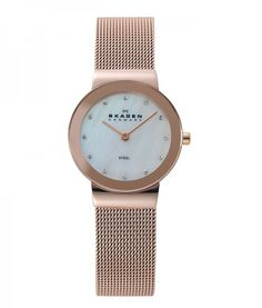 SKAGEN Rose Gold-tone White Mother Of Pearl & Crystal Mirror Watch