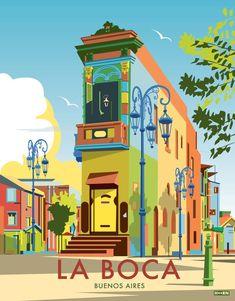 La boca in 2019 buenos aires poster series южная америка, ри Art Et Design, Diy Design, Photo Vintage, Vintage Ski, Kunst Poster, Argentina Travel, Poster Series, Travel Illustration, Vintage Travel Posters