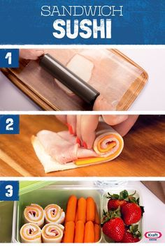 Kids Meals Sandwich Sushi - Back to School is around the corner! For a fun first day surprise, try out these cute Sushi Sandwiches made with your favorite KRAFT cheese in your kids lunchbox. Kids Lunch For School, School Snacks, Cold Lunch Ideas For Kids, Bento Box Lunch For Kids, Bento Lunchbox, Toddler Meals, Kids Meals, Healthy Kids, Healthy Snacks